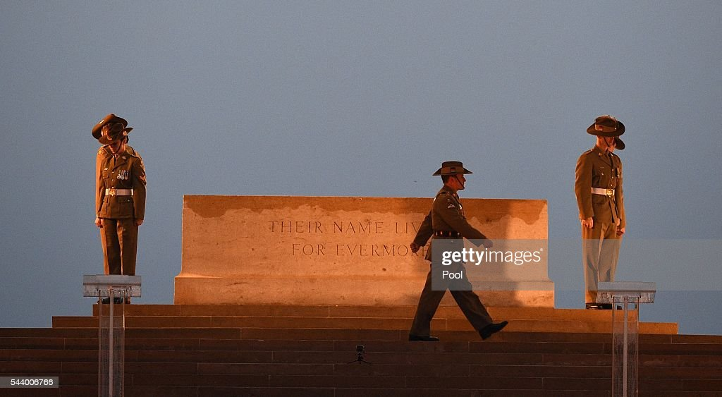Soldiers take part in a vigil at the the Stone of Remembrance on June 30, 2016 in Thiepval, France. The event is part of the Commemoration of the Centenary of the Battle of the Somme at the Commonwealth War Graves Commission Thiepval Memorial in Thiepval, France, where 70,000 British and Commonwealth soldiers with no known grave are commemorated.