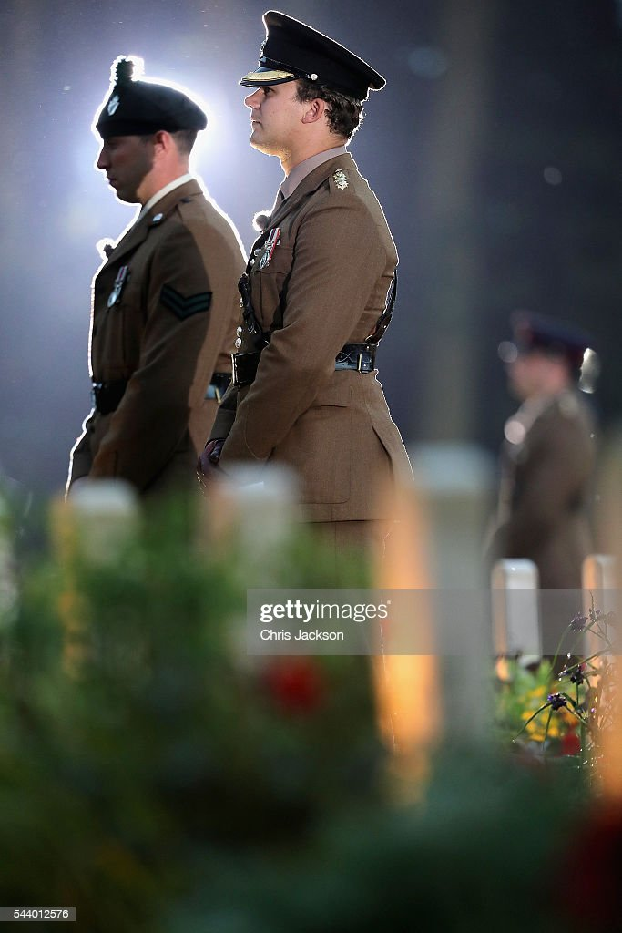 Soldiers take part in a vigil at Thiepval Memorial to the Missing of the Somme during Somme Centenary Commemorations on June 30, 2016 in Thiepval, France.