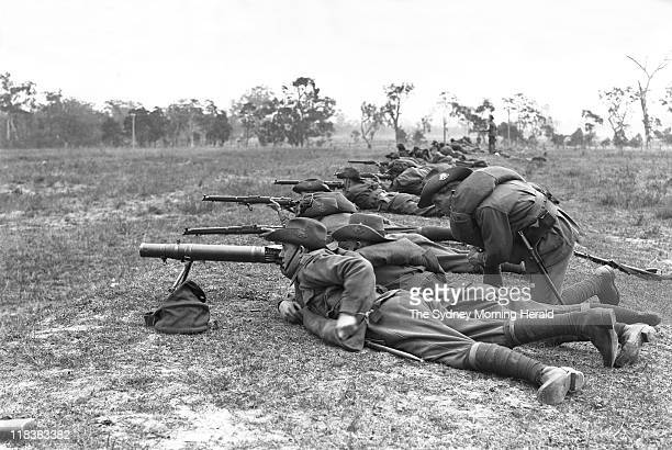 Soldiers take part in artillery exercises at Liverpool in Sydney 1916