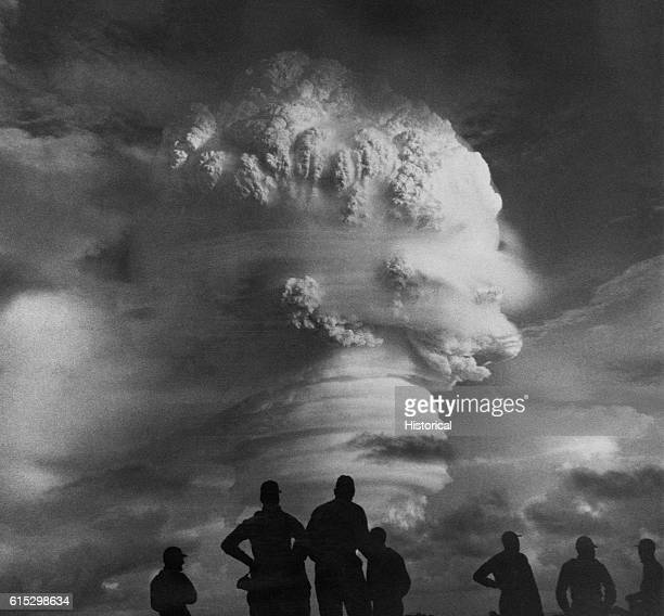 Soldiers watch the Operation Hardtack I thermonuclear detonation in 1958   Location Near Marshall Islands Trust Territory of the Pacific Islands