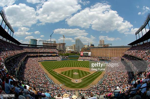 A soldout crowd watches the game between the Boston Red Sox and the Baltimore Orioles at Camden Yards August 12 2007 in Baltimore Maryland