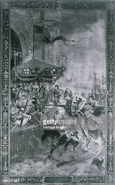 Solemn Joust on London Bridge late 15th century Victorian representation of a jousting match between David de Lindsay Earl of Crawford and Lord John...