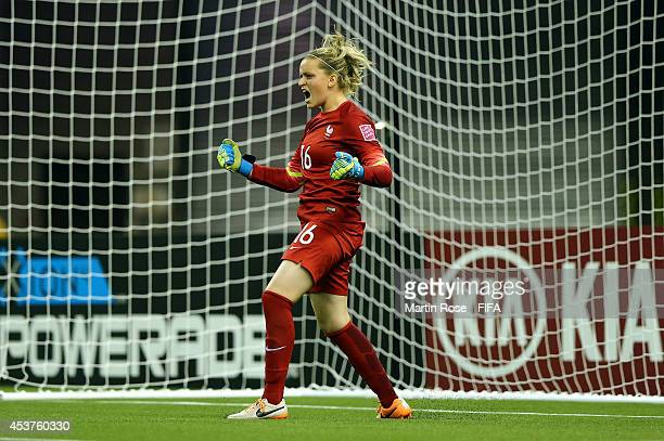 Solene Durand goalkeeper of France celebrates during the FIFA U20 Women's World Cup 2014 quater final match between France and Korea Republic at...
