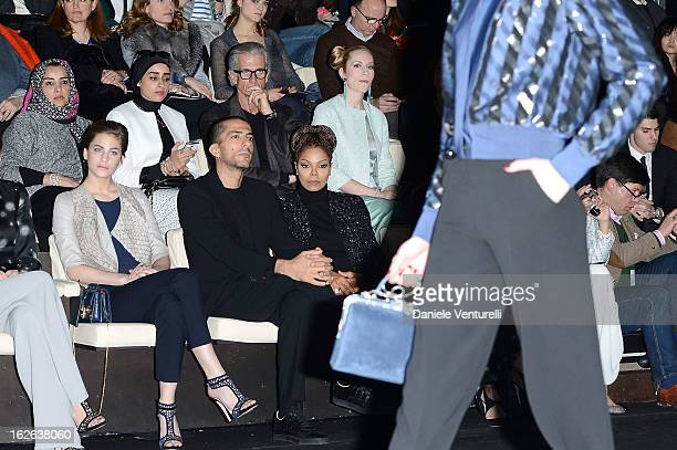 Solene Hebert Wissam al Mana and Janet Jackson attend the Giorgio Armani fashion show during Milan Fashion Week Womenswear Fall/Winter 2013/14 on...