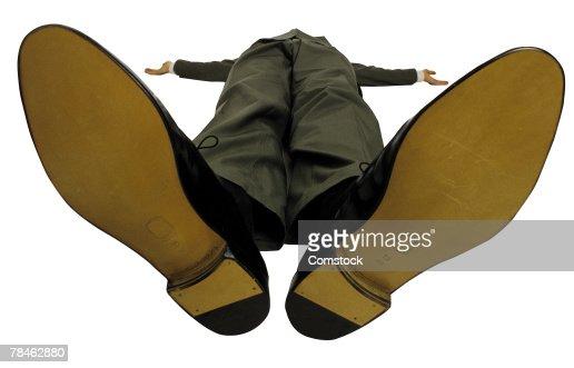 Soles of businessman's shoes
