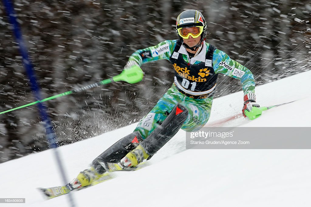 Solevaag Sebastian-Fos competes during the Audi FIS Alpine Ski World Cup Men's Slalom on March 10, 2013 in Kranjska Gora, Slovenia.