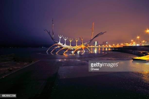 Solfar Sun Voyager Sculpture Against Rekjavik City At Night