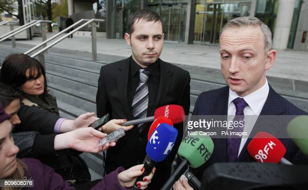 Solicitor Cahir O'Higgins speaks to the media outside Dublin District Court after Leonard Watters admitted falsely accusing X Factor judge Louis...