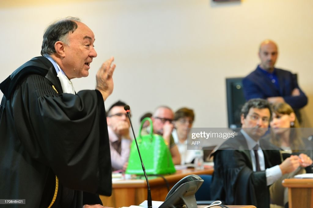 Solicitor Ennio Amodio talks during the trial to Giuseppe Orsi former head of the Italian aerospace and defense giant Finmeccanica on June 19, 2013 at the courtroom in Busto Arsizio near Varese. The former head of Finmeccanica goes on trial in a case involving alleged bribes to win a 560 Mio euro helicopter contract in India.