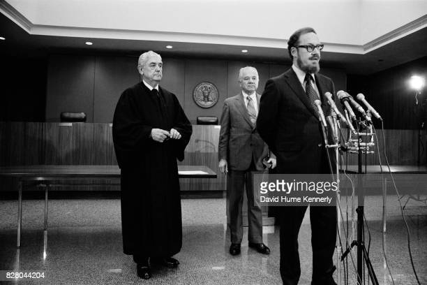 Solicitor General of the United States and acting US Attorney General Robert Bork speaks to the press on Capitol Hill Washington DC November 5 1973...