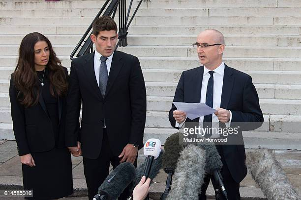 Solicitor Shaun Draycott reads a statement on behalf of Chesterfield FC football player Ched Evans who was found not guilty of rape on October 14...