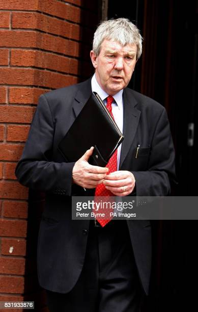 Solicitor Thomas McGoldrick leaves Trafford Magistrates' Court he is accused of taking 900000 compensation money from a road crash victim