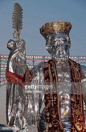Solid gold statue of St Barthomolew, Lipari : Stock Photo