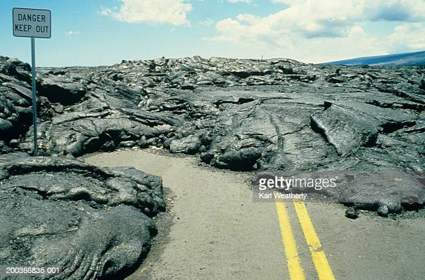 Solid lava flow on road surface, Kilauea, Hawaii, USA