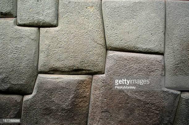 Einfarbige wie ein Fels gehauenen Inka Steinmauer Cusco, Peru