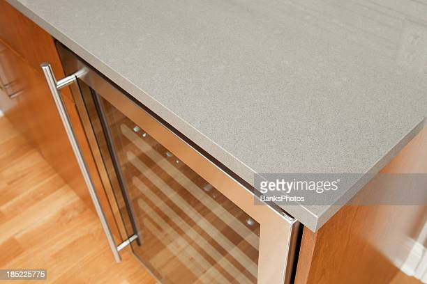 Solid Surface Kitchen Counter with Wine Cooler