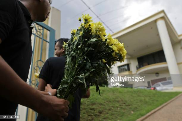 Solidarity Ajak Muda Malaysia send a yellow daisy flowers as a symbol of friendships between Malaysia and North Korea in front of the North Korea...