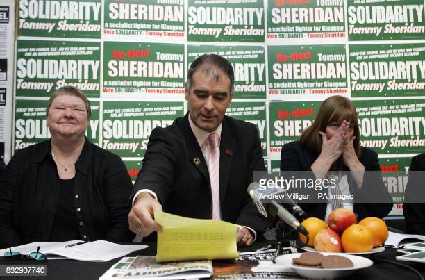 Solidarity coconvener Tommy Sheridan launches his party's election manifesto in Glasgow accompanied by party candidates his sister Lynn Sheridan and...