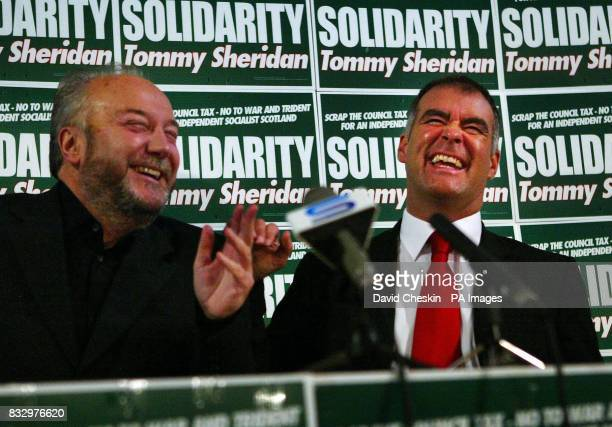 Solidarity leader Tommy Sheridan and controversial MP George Galloway during a meeting at St Augustine's Church Edinburgh