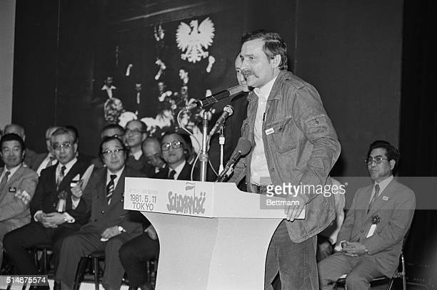 Solidarity Union Leader Lech Walesa speaks to a group of Japanese workers during a 1981 visit to Japan | Location Kudankaikan Hall Tokyo Japan