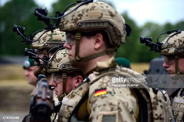 A solider of the German Armed forces is seen with nightvision googles during the official handover ceremony of the tank to the German armed forces...