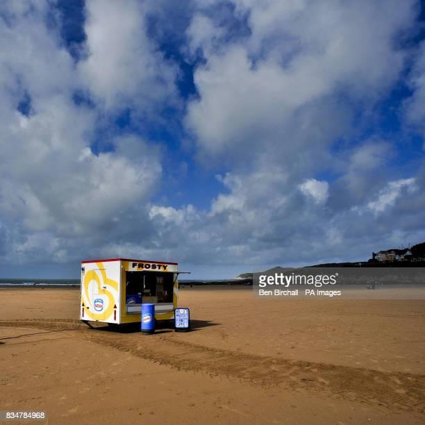 A solitary icecream stand on Woolacombe beach north Devon