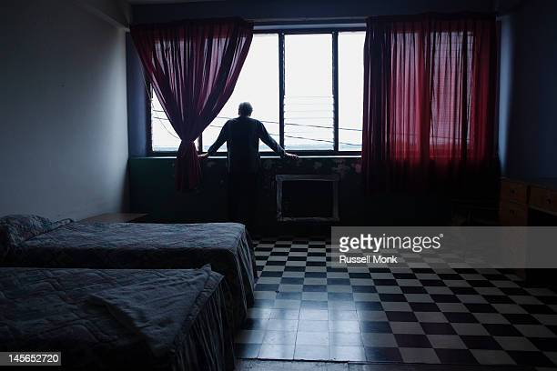 Solitary man in a room