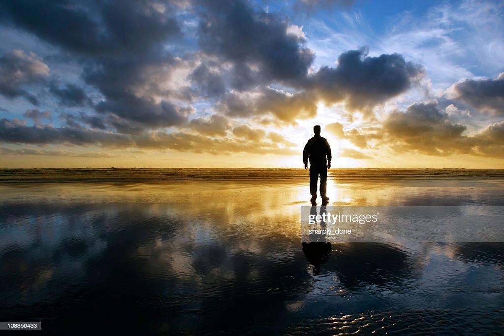 XXL solitude beach silhouette : Stock Photo