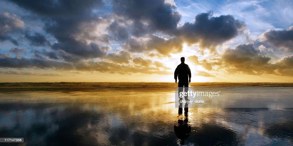 XL solitude beach silhouette : Stock Photo