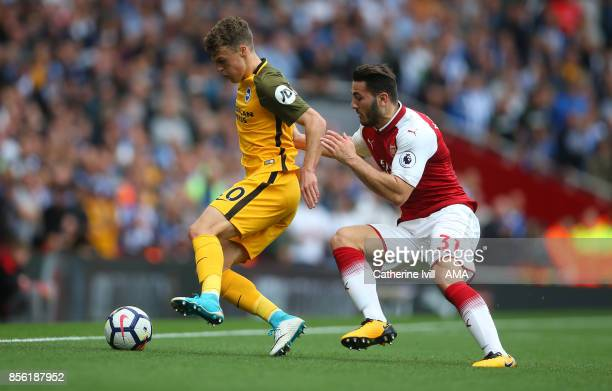 Solly March of Brighton and Hove Albion and Sead Kolasinac of Arsenal during the Premier League match between Arsenal and Brighton and Hove Albion at...