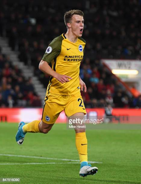 Solly March of Brighton and Hove Albion celebrates as he scores their first goal during the Premier League match between AFC Bournemouth and Brighton...
