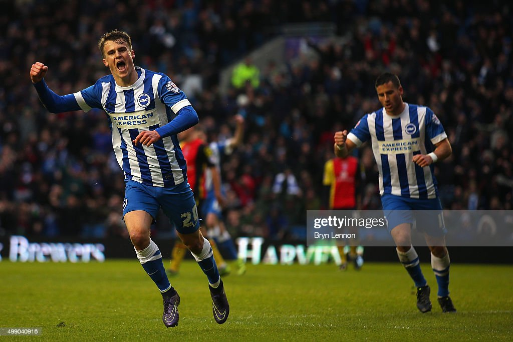 Solly March of Brighton and Hove Albion celebrates scoring during the Sky Bet Championship match between Brighton and Hove Albion and Birmingham City on November 28, 2015 in Brighton, United Kingdom.