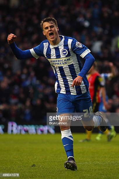 Solly March of Brighton and Hove Albion celebrates scoring during the Sky Bet Championship match between Brighton and Hove Albion and Birmingham City...
