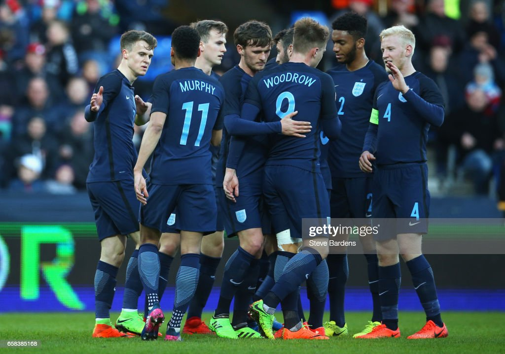 Solly March of England (L) celebrates as scores their second goal with team mates during the U21 international friendly match between Denmark and England at BioNutria Park on March 27, 2017 in Randers, Denmark.
