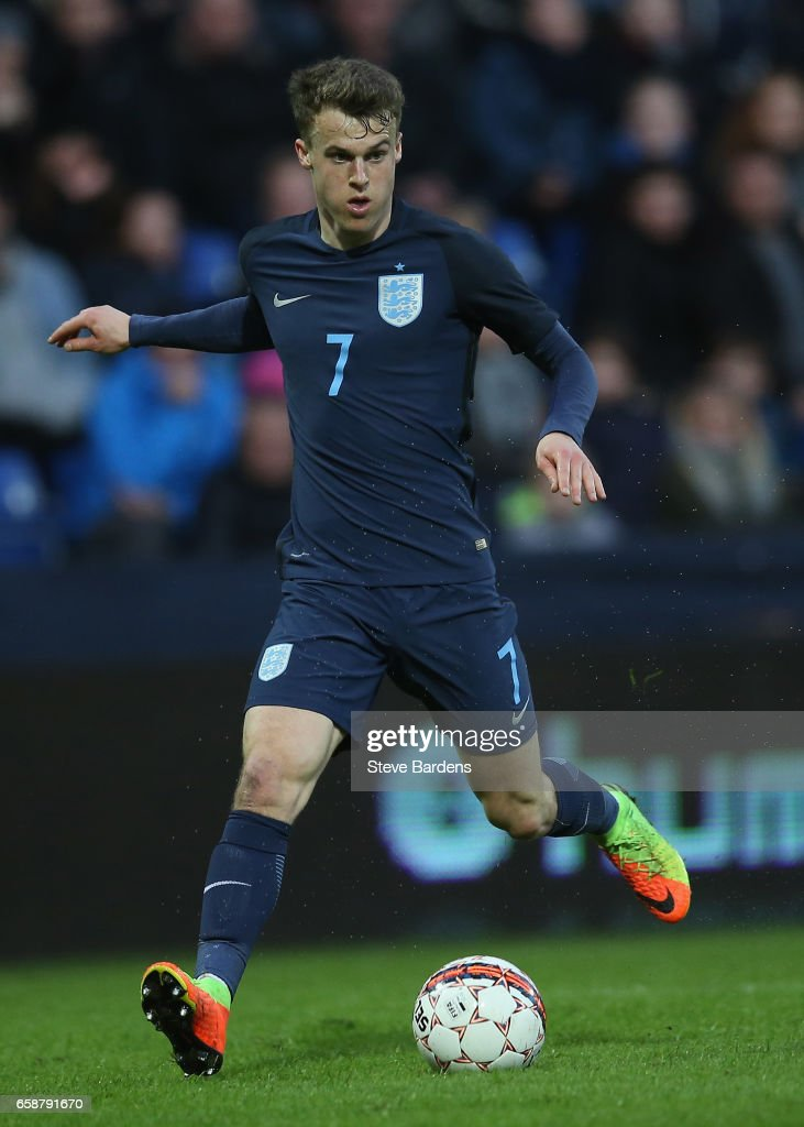 Solly March of England in action during the U21 international friendly match between Denmark and England at BioNutria Park on March 27, 2017 in Randers, Denmark.