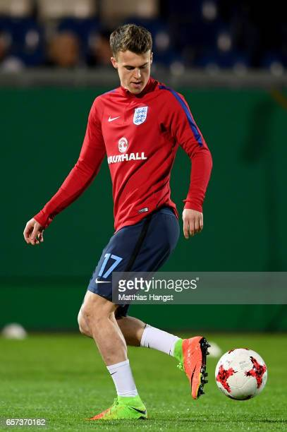 Solly March of England warms up prior to the U21 international friendly match between Germany and England at BRITAArena on March 24 2017 in Wiesbaden...