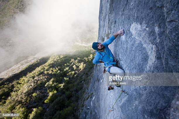 Solo Guy Climbs Rock Wall
