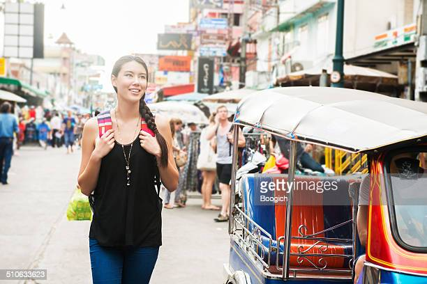 Solo Traveler Having Fun on Khao San Road Bangkok Thailand