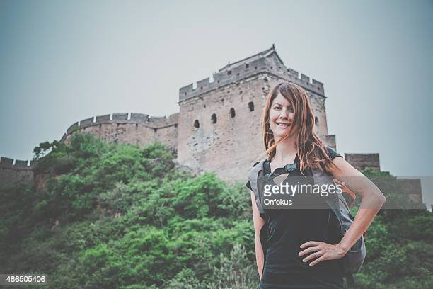 Solo Woman Tourist at Great Wall Of China