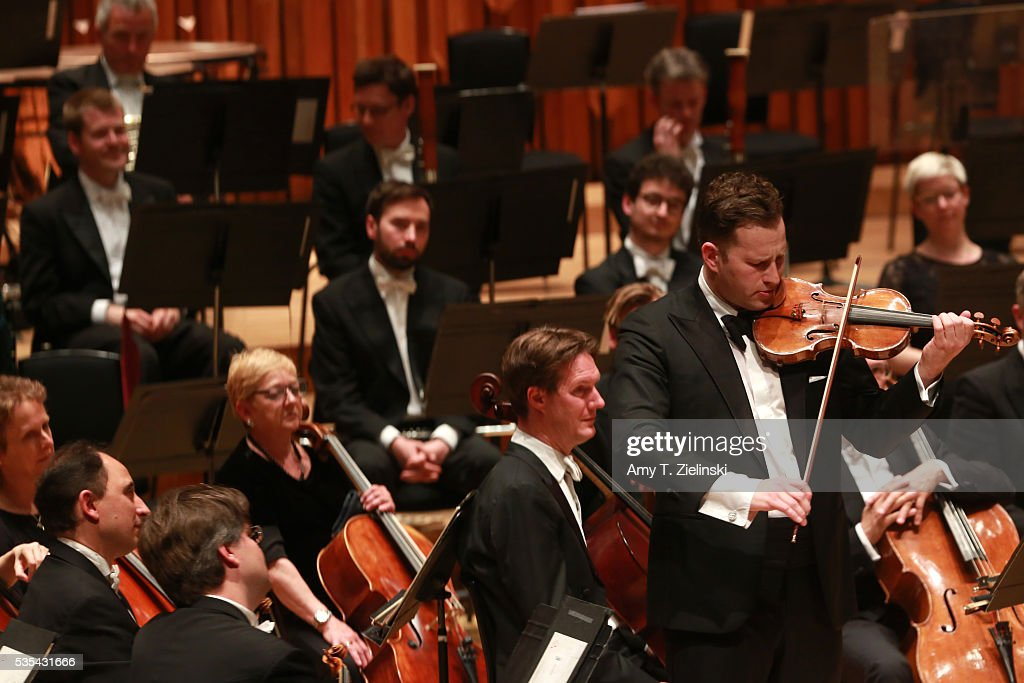 Soloist violinist Nikolaj Znaider plays an encore following the Beethoven Violin Concerto as Sir Antonio Pappano conducted the London Symphony Orchestra at Barbican Centre on May 29, 2016 in London, England.