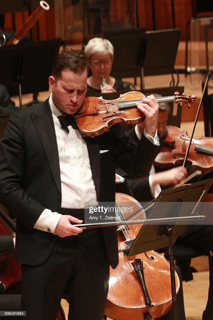Soloist violinist Nikolaj Znaider plays the Beethoven Violin Concerto as Sir Antonio Pappano conducts the London Symphony Orchestra at Barbican Centre on May 29, 2016 in London, England.