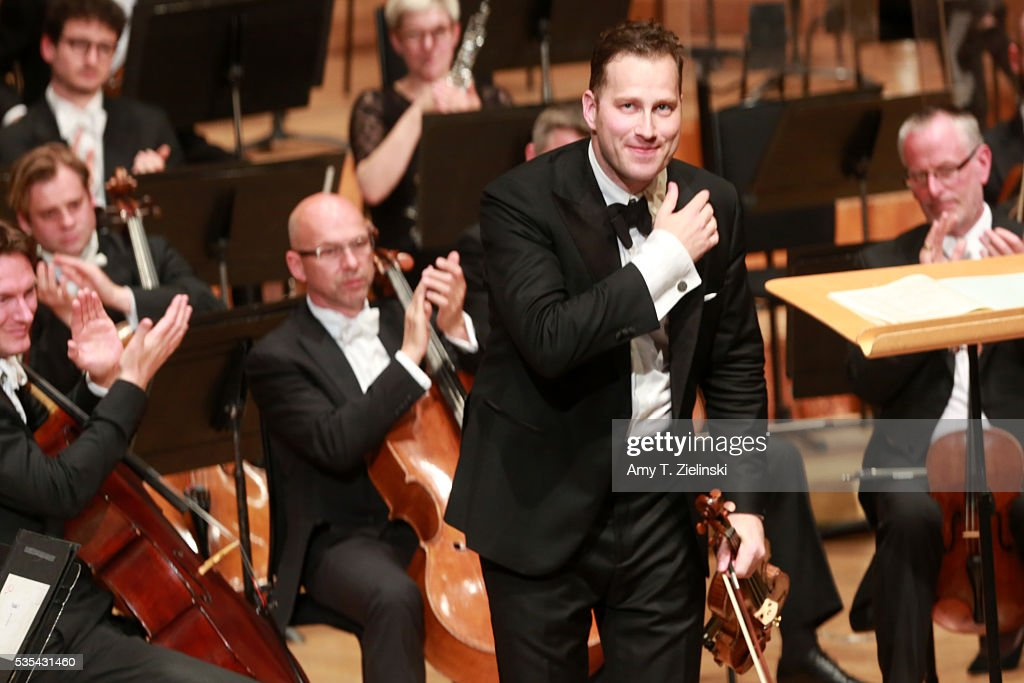 Soloist violinist Nikolaj Znaider receives the audience after playing an encore following the Beethoven Violin Concerto as Sir Antonio Pappano conducted the London Symphony Orchestra at Barbican Centre on May 29, 2016 in London, England.