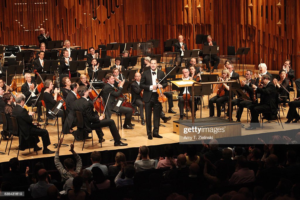Soloist violinist Nikolaj Znaider receives the audience after playing the Beethoven Violin Concerto as Sir Antonio Pappano conducts the London Symphony Orchestra at Barbican Centre on May 29, 2016 in London, England.