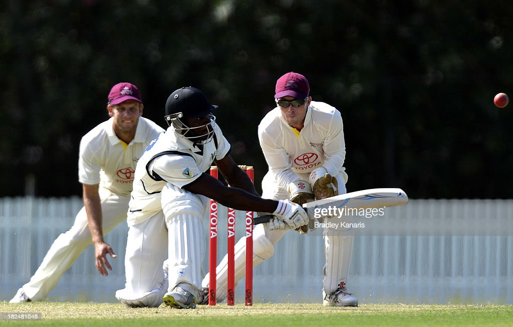 Soloman Mire of Victoria plays a sweep shot during day one of the Futures League match between Queensland and Victoria at Allan Border Field on September 30, 2013 in Brisbane, Australia.