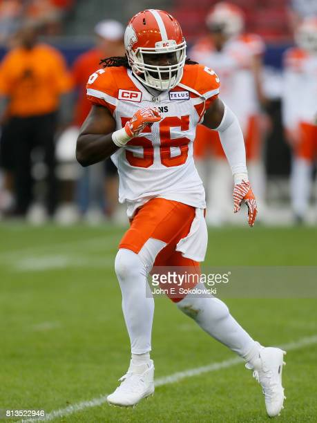 Solomon Elimimian of the BC Lions drops into coverage against the Toronto Argonauts during a CFL game at BMO field on June 30 2017 in Toronto Ontario...