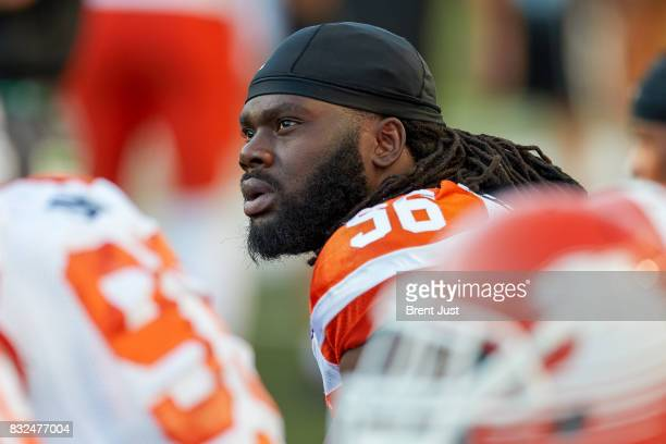 Solomon Elimimian of the BC Lions on the sideline during the game between the BC Lions and the Saskatchewan Roughriders at Mosaic Stadium on August...