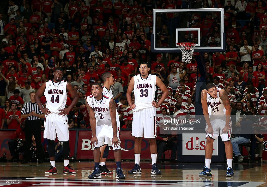 Solomon Hill #44, Mark Lyons #2, Grant Jerrett #33 and Brandon Ashley #21 of the Arizona Wildcats during the college basketball game against the Long Beach State 49ers at McKale Center on November 19, 2012 in Tucson, Arizona. The Wildcats defeated the 49ers 94-72.