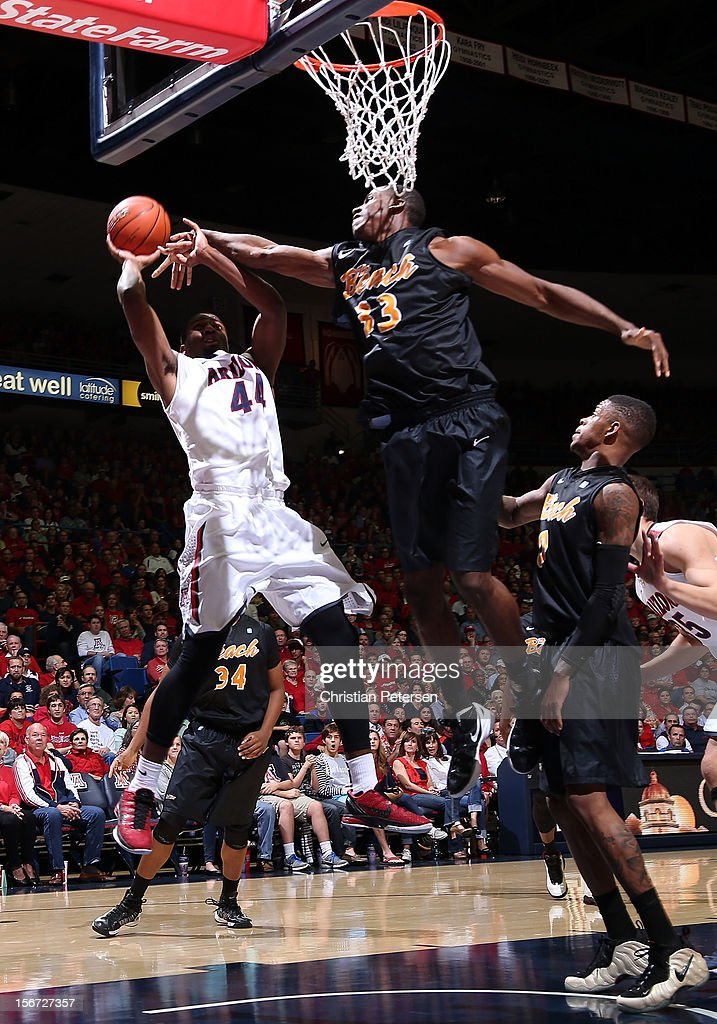 Solomon Hill #44 of the Arizona Wildcats puts up a shot against Nick Shepherd #33 of the Long Beach State 49ers during the second half of the college basketball game at McKale Center on November 19, 2012 in Tucson, Arizona. The Wildcats defeated the 49ers 94-72.