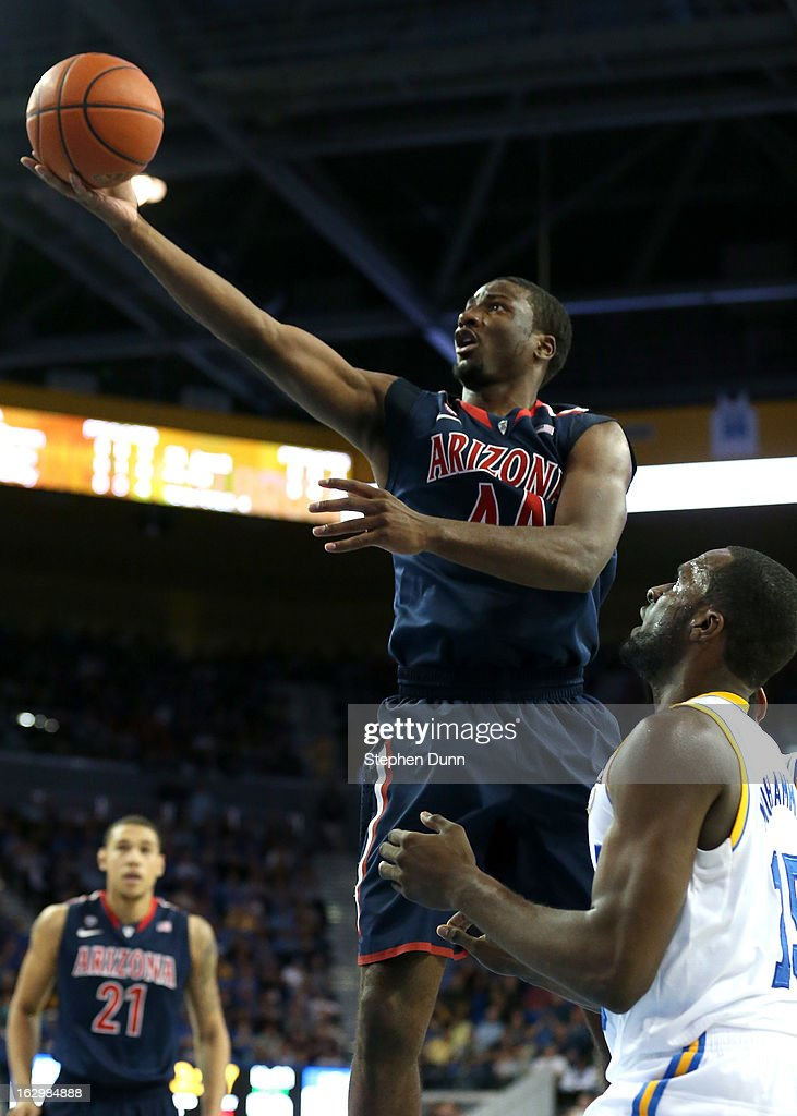 Solomon Hill #44 of the Arizona Wildcats shoots over <a gi-track='captionPersonalityLinkClicked' href=/galleries/search?phrase=Shabazz+Muhammad&family=editorial&specificpeople=7447677 ng-click='$event.stopPropagation()'>Shabazz Muhammad</a> #15 of the UCLA Bruins at Pauley Pavilion on March 2, 2013 in Los Angeles, California. UCLA won 74-69.