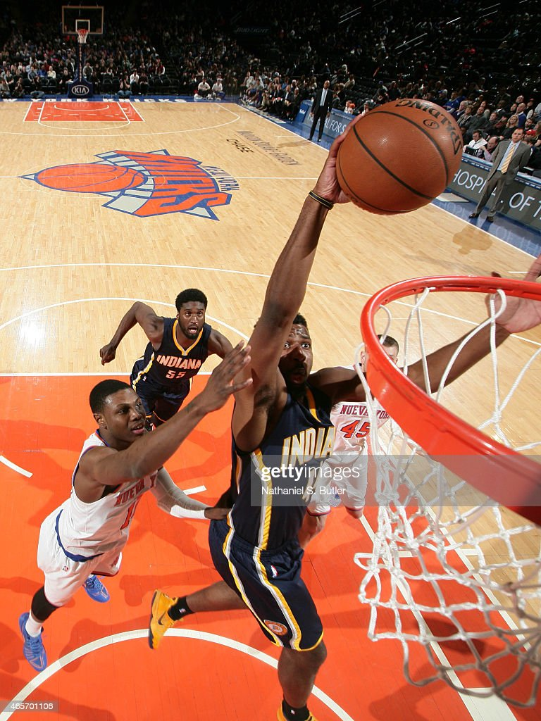 Solomon Hill #44 of the Indiana Pacers dunks against the New York Knicks on March 7, 2015 at Madison Square Garden in New York City.